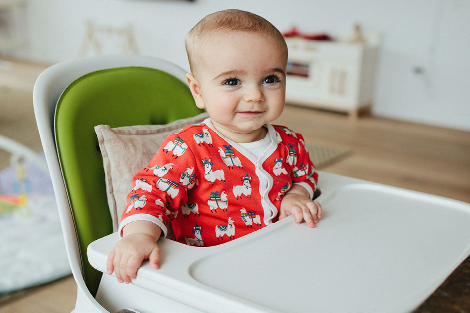 A baby in a high chair.